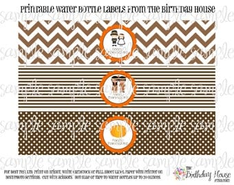 INSTANT DOWNLOAD - PRINTABLE Water Bottle Labels - Thanksgiving Pilgrim and Indian Decorations by The Birthday House