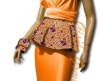 Orange 4-Piece Set | African Infinity Convertible Top | Peplum Wrap Blouse | Mermaid Maxi Skirt | Free Bandeau/Bra And Bows | Bridesmaids