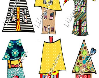 whimsical houses 2 clipart scrapbook/journal art...handdrawn..plus gift
