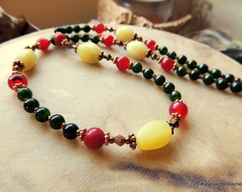 Jade and Bloodstone Necklace, Gemstone and Copper Jewelry, Red and Green, Handcrafted Jewelry, Tuscan Style, Boho Jewelry