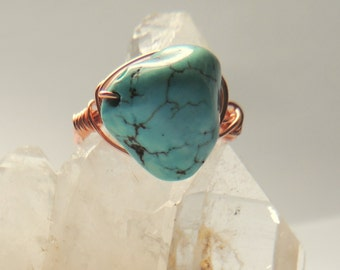 Turquoise Nugget Ring, Copper Wire Wrap, Handcrafted Jewelry, Native Style Jewelry, Chunky Jewelry, Gemstone Jewelry, Wire Wrap Ring