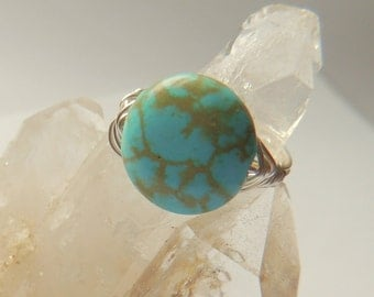 Turquoise and Silver Wire Wrap Ring, Turquoise Ring, Handcrafted Jewelry, Turquoise and Silver, Wire Wrapped Ring