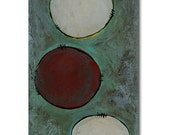 Red and White Circles on Light Turquoise - Original Painting on Canvas 6in x 12in - by Nicole Dietz - Heavy Texture - Abstract Modern Art