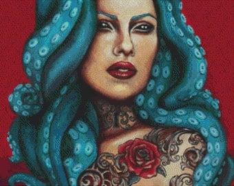 Modern Cross Stitch Kit, Odette By Megan Mars, Octopus Cross Stitch, Tattoo Art, Counted Cross Stitch Kit, Sewing Pack