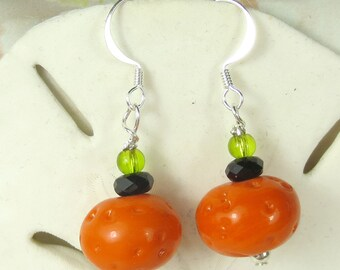 Orange Pumpkin lampwork beaded earrings for Halloween, Halloween earrings, holiday earrings