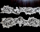 "Antique BRUGES BOBBIN LACE, entirely handmade, two pieces 5""x50"", stunning large scale pattern, mirror image"