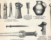 1897 Back-to-back Antique German Engraving of Prehistoric Artifacts No. 1