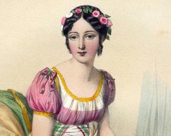 1857 Antique Chromolithograph of the Women of Napoleon's Day. Mme Regnault de Saint Jean d'Angely
