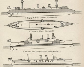 1895 German Antique Engraving of Armoured Cruisers