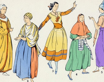 1925 French Art Deco Hand Coloured Pochoir Print on Women's Fashions in Spain and Italy. Plate 2