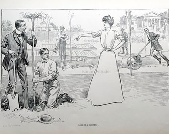 Gibson Girl - Love in a Garden - Humorous 1906 Antique Charles Dana Gibson Print - Gift for Her