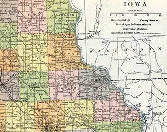 1919 Large Vintage Map of Iowa - Antique Iowa Map