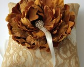 Wedding Ring Pillow -Ivory  Silk Ring Bearer Pillow With Gold Lace Overlay and Bloom - Lillian