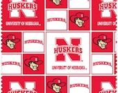 University of Nebraska Husker Fabric, Designer Cotton Quilt Fabric, Quilt Fabric, Red & White Fabric, SELECT A SIZE