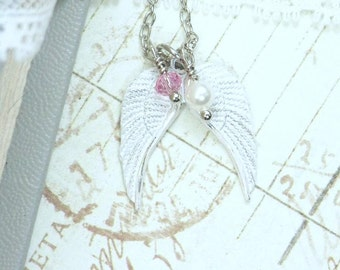 Wing Charm Necklace Angel Wing Jewelry Memory Necklace White Wing Jewelry Angel Wing Necklace
