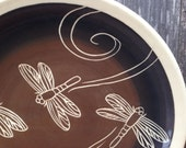 Dragonfly Plate / Black, Brown and Cream