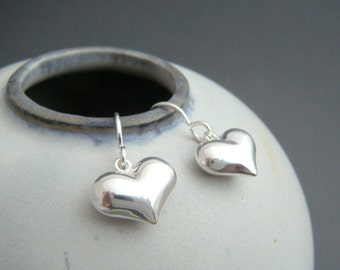 small heart earrings. sterling silver dangles. puffed. puff silver heart. everyday jewelry. drop. valentines day. simple gift for her 1/2""