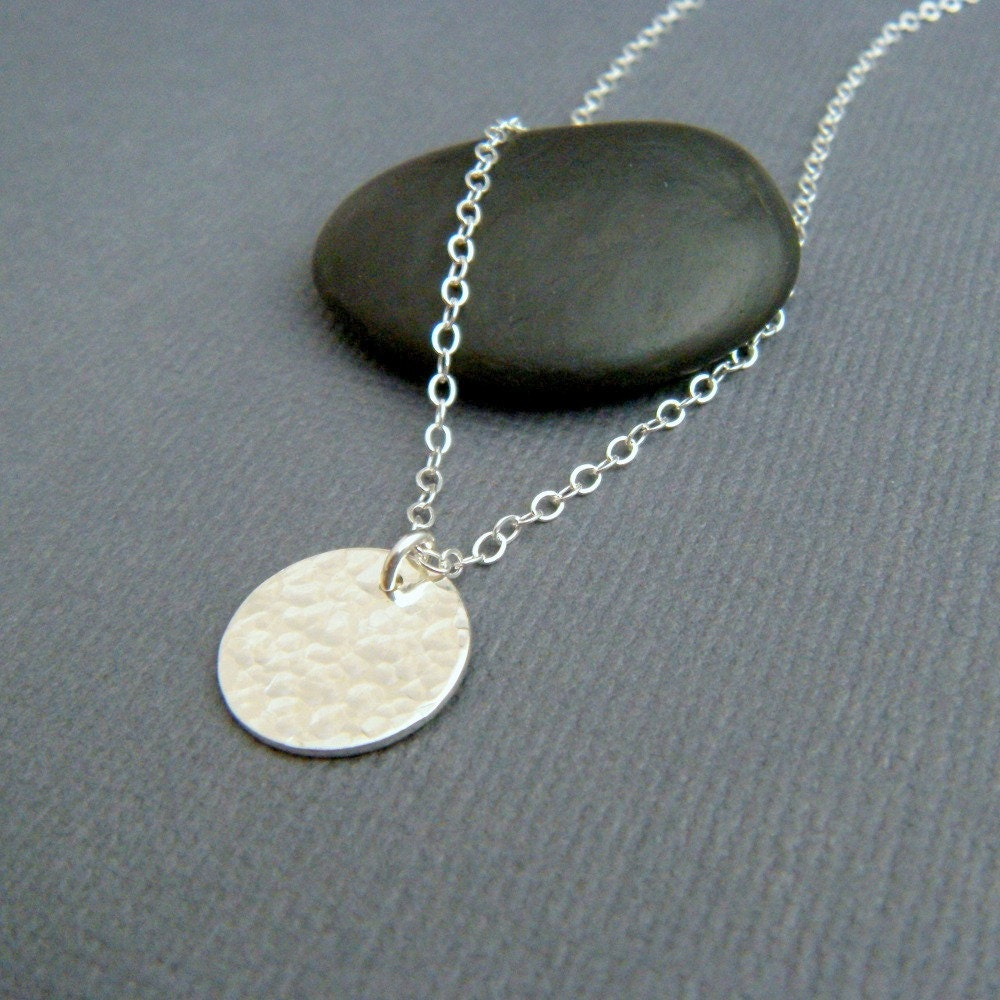 silver circle necklace simple pendant delicate small