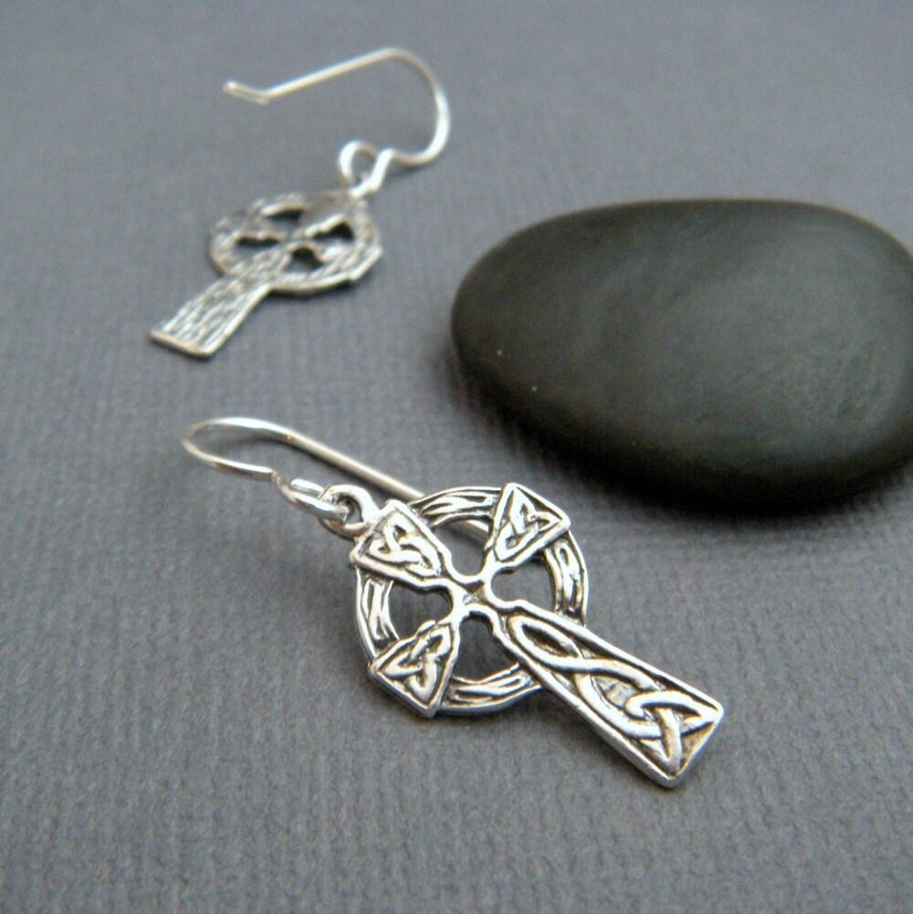 Dangling Cross Bracelet: Small Celtic Knot Cross Earrings. Sterling Silver Dangle