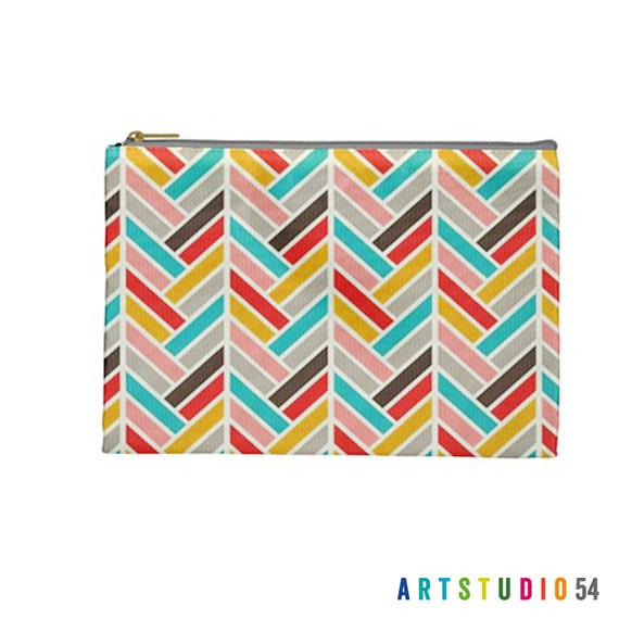 "Pink Teal Yellow Grey Feather on a Pouch, Make Up, Cosmetic Case Travel Bag Pencil Case - 9"" X 6"" -  Large -  Made by artstudio54"