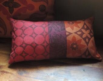 marsala and saffron orange red earth linen hand block printed moroccan geometric colorful decorative home decor pillow cover
