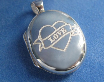 Love Tatoo Sterling Silver Locket with silk cord Silver chain available