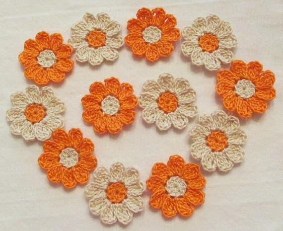 Crochet flowers embellishments appliques melon orange - Appliques flos ...