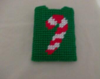 Candy Cane Gift Card Holder, Needlepoint Christmas Gift Holder, Re-usable Gift Card Holder