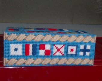 Maritime Flags Tissue Box Cover