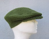 crochet driver's cap/ deep olive greeen cotton- made to order