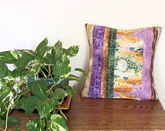"""TWO Oriental Throw Pillows Machine Embroidered  - Quilted Patchwork Oriental Pillows - 16"""" decorator pillows, gold purple, green - B2-8"""