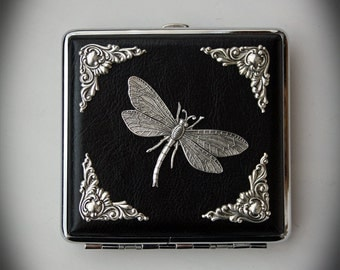 Decorated Cigarette Case Gothic Goth - Gothic Victorian Silverplated Dragonfly and Corner embellishments Cigarette Box Smoke Case Smoking