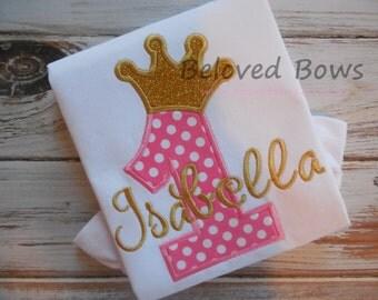 Girls Birthday Shirt, Birthday Princess Shirt, Crown Birthday Shirt, First Birthday Shirt, Pink and Gold Birthday, Ruffle Shirt or Bodysuit