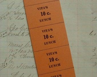 Antique 1930s Lunch Tickets Unused Ephemera Lot