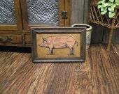 Dollhouse MIniature Pig Picture Butcher Shop Chart Kitchen Pork Diagram