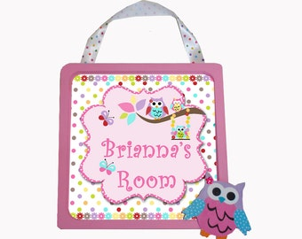 Personalized Little Girls Wooden Framed Door Sign Plaque  Owls Swinging in a Tree
