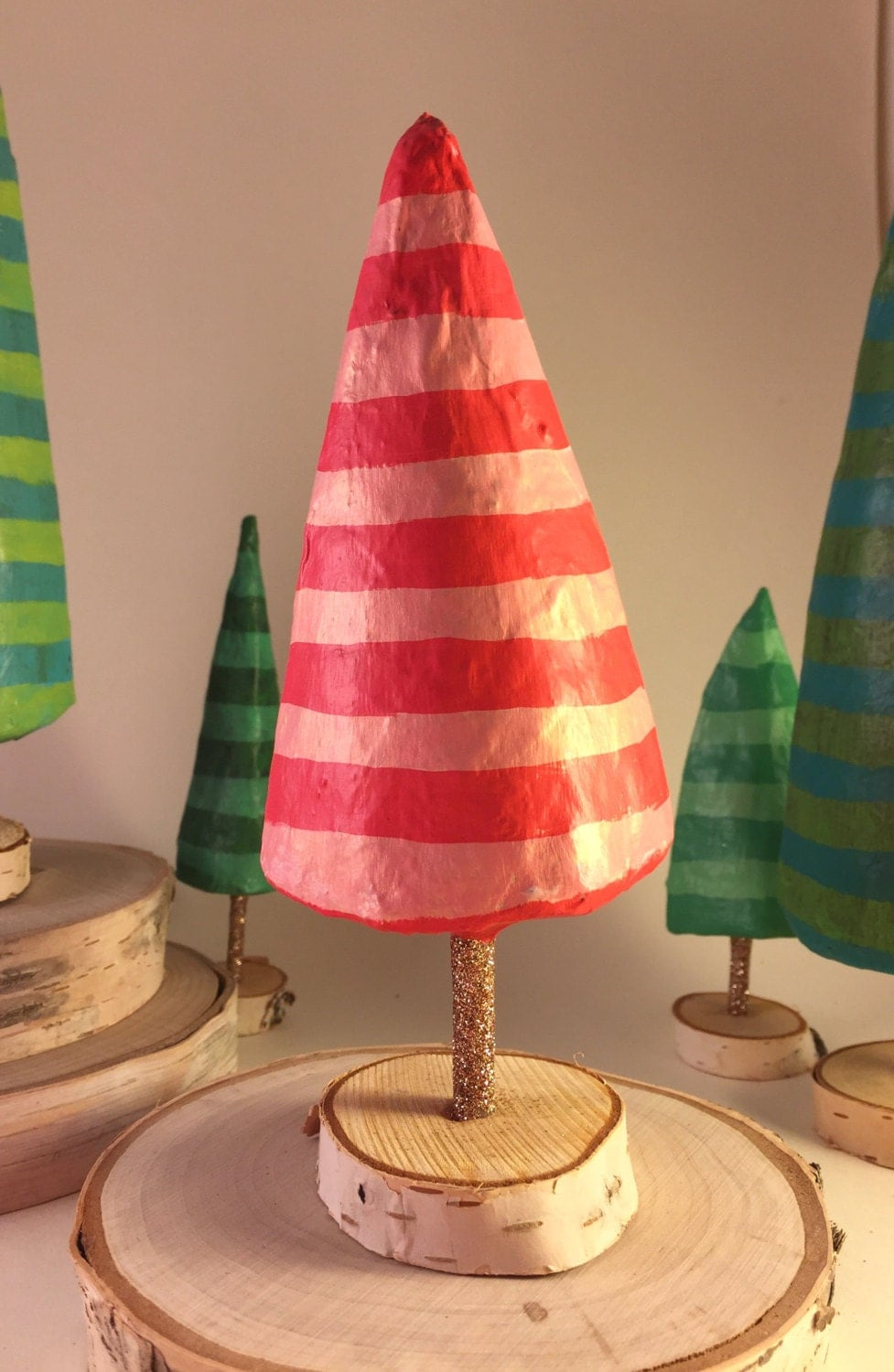 Paper mache christmas tree pink and red for Paper mache christmas