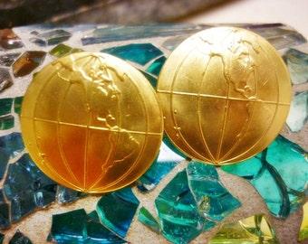 Golden Globe Earrings-Travel the World Earrings-Gold Earth Earrings