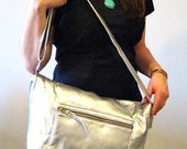 Vegan Leather Bag in Silver, Vegan Crossbody Bag, Silver Foldover Bag