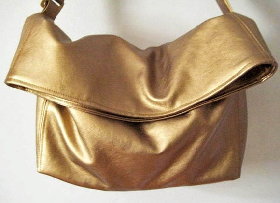 Faux Leather Bag in Metallic Copper, Vegan Bag Foldover with Crossbody Bag Strap