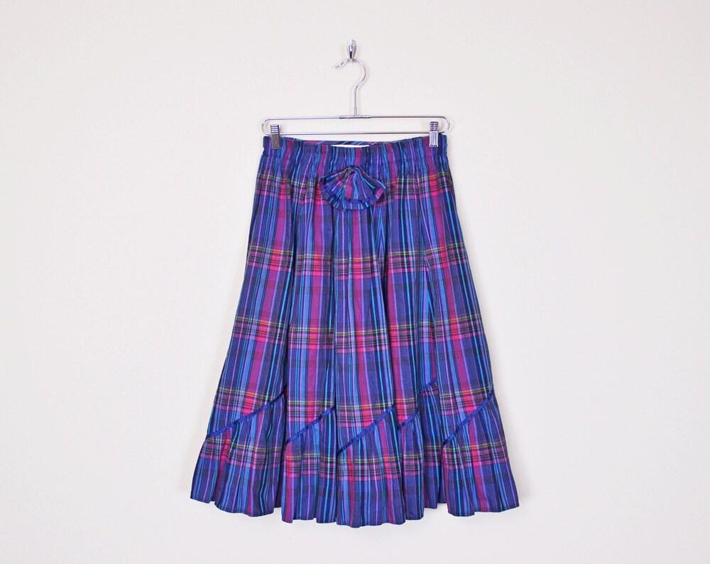 vintage 80s purple plaid skirt plaid midi skirt by