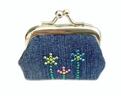 And The Flowers They Grow - Tiny Kisslock Coin Purse - Rhinestone Crystal Design Work