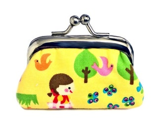 Brown Haired Girl In The Forest  - Tiny Kisslock Coin Purse - Tiny Fun