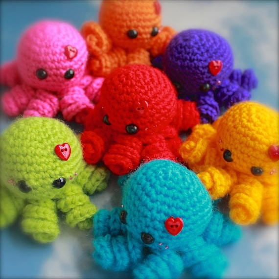 Crochet Patterns Octopus : Mini Rainbow Octopus Amigurumi - You Choose The Colour - Made To Order ...