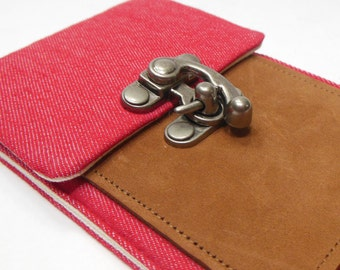 iPhone 6 / 7 / 7 Plus wallet - red denim