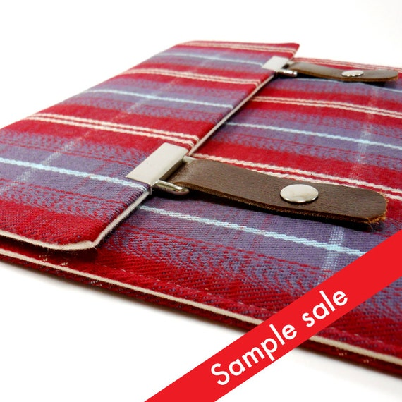 iPad / iPad Air case with pocket - red and purple plaid