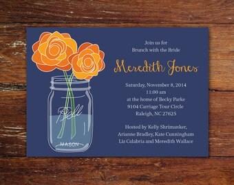 Mason jar and flowers bridal shower, luncheon or brunch invitation (custom), printable file