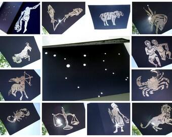 """5""""X7"""" Star Custom Greek Illustration Constellation Handstamped & Embossed  - Ready for framing - Handmade by Dorana"""