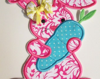 Boys & Girls Easter Iron On or Sew On Fabric Embroidered Applique - Easter Bunny with Carrot