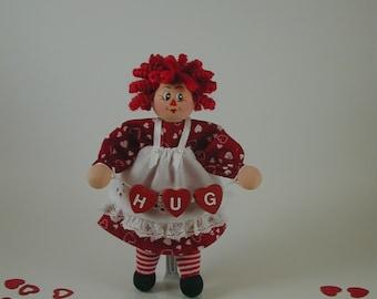 Valentine Raggedy Ann Clothespin Doll; Raggedy Ann Valentine Hug; Hugs Raggedy Ann